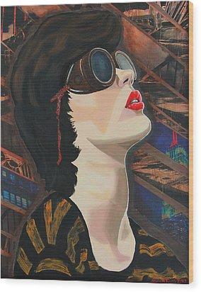 Maddiev Wood Print by Miriam Tiritilli