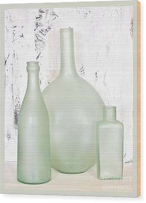 Made In India Sea Glass Bottles Wood Print by Marsha Heiken
