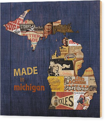 Made In Michigan Products Vintage Map On Wood Wood Print by Design Turnpike