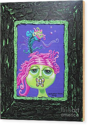 Mademoiselle Flutterby Wood Print by Genevieve Esson