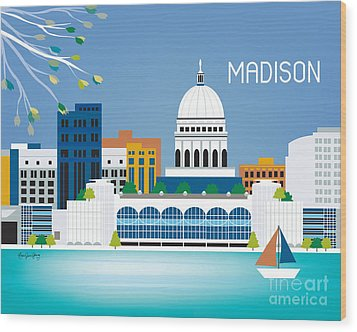 Madison Wood Print by Karen Young