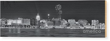 Madison - Wisconsin -  New Years Eve Panorama Black And White Wood Print by Steven Ralser