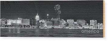 Madison - Wisconsin -  New Years Eve Panorama Black And White Wood Print