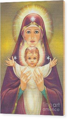 Madonna And Baby Jesus Wood Print by Zorina Baldescu