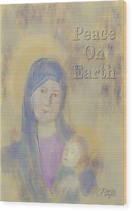 Wood Print featuring the digital art Madonna And Child by Arline Wagner