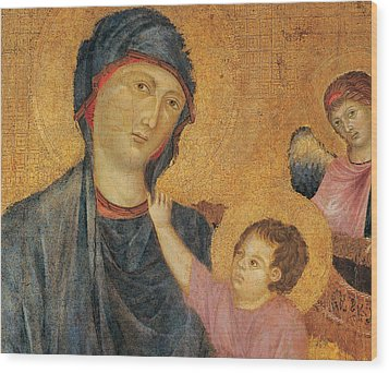 Madonna And Child Enthroned  Wood Print by Cimabue