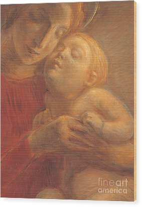 Madonna And Child Wood Print by Gaetano Previati