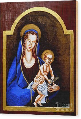 Madonna And Child Wood Print by Genevieve Esson