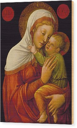 Madonna And Child Wood Print by Jacob Bellini