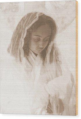 Madonna And Child Wood Print by Jodie Marie Anne Richardson Traugott          aka jm-ART
