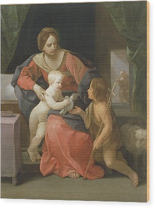 Madonna And Child With Saint John The Baptist Wood Print by Guido Reni
