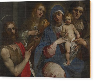 Madonna And Child With Saints John The Baptist With Mary Magdalene And Anne Wood Print by Guiseppe Cesari
