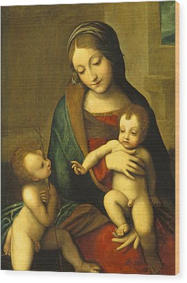 Madonna And Child With The Infant Saint John Wood Print by Antonio Allegri Correggio