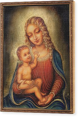 Wood Print featuring the mixed media Madonna Beata by Ananda Vdovic