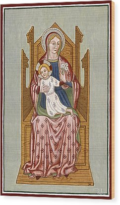 Madonna Col Bambino In Trono - Mother Of God On The Throne. Wood Print by Raffaella Lunelli