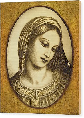 Wood Print featuring the mixed media Madonna Face  by Ananda Vdovic