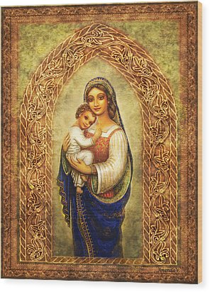 Wood Print featuring the mixed media Madonna In An Arch by Ananda Vdovic