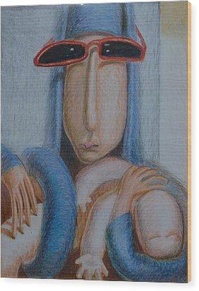 Madonna In Sunglasses Wood Print by Nancy Mauerman
