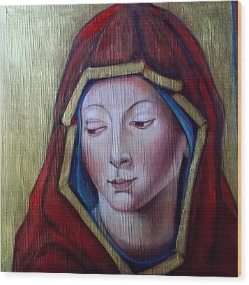 Wood Print featuring the painting Madonna Of Peace by Irena Mohr