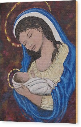 Madonna Of The Burgundy Tapestry - Cropped Wood Print by Kathleen McDermott