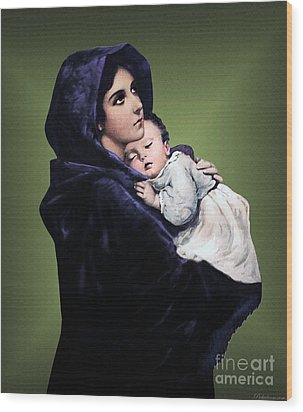 Wood Print featuring the digital art Madonna With Child by A Samuel