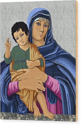 Wood Print featuring the painting Madonna With Child Blessing by Karon Melillo DeVega