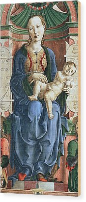 Madonna With The Child Enthroned Detail Wood Print by Cosme Tura