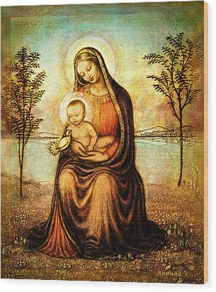 Wood Print featuring the mixed media Madonna With The Dove by Ananda Vdovic