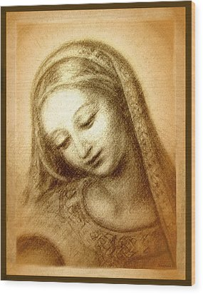 Wood Print featuring the mixed media Madonna With The Dove Face by Ananda Vdovic
