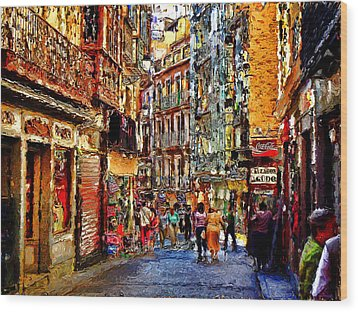 Madrid Lookers 2 Wood Print by Cary Shapiro