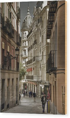 Madrid Streets Wood Print by Joan Carroll