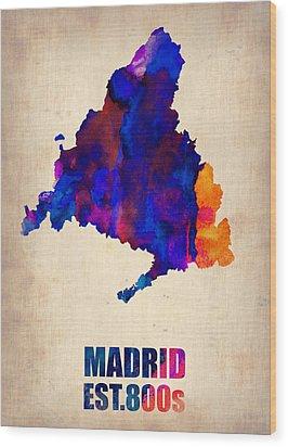Madrid Watercolor Map Wood Print by Naxart Studio