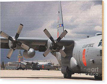 Wood Print featuring the photograph Maffs C-130s At Cheyenne by Bill Gabbert