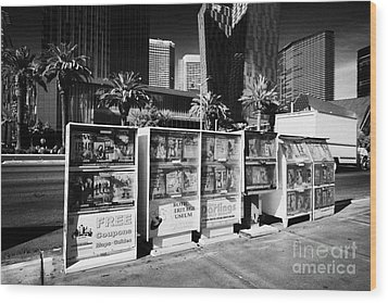 magazine stands free coupons guides and escort directories Las Vegas Nevada USA Wood Print by Joe Fox