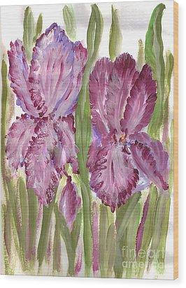Magenta Iris Wood Print by Debbie Wassmann