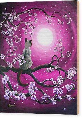 Magenta Morning Sakura Wood Print by Laura Iverson