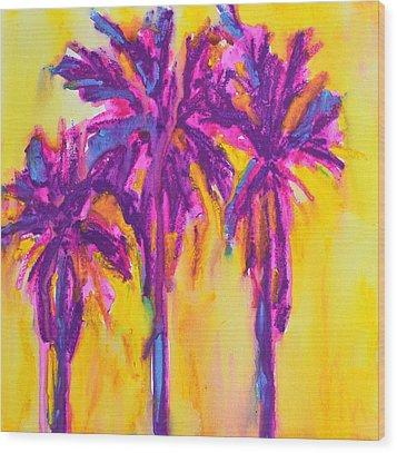 Magenta Palm Trees Wood Print by Patricia Awapara