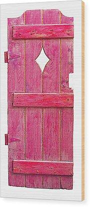 Magenta Pink Painted Garden Door Wood Print by Asha Carolyn Young