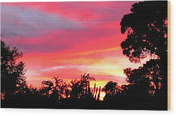 Wood Print featuring the photograph Magenta Sunset by DigiArt Diaries by Vicky B Fuller