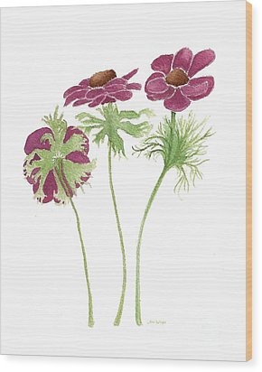Wood Print featuring the painting Magenta Wind Flowers by Nan Wright
