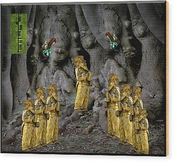 Magic As The Tree People Celebrate Health Wood Print by LeeAnn McLaneGoetz McLaneGoetzStudioLLCcom
