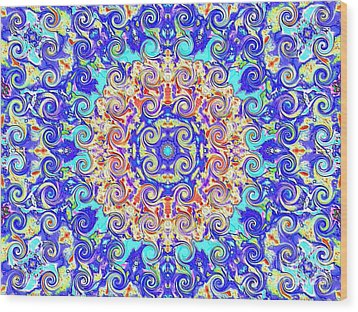 Magic Carpet Ride Blue Wood Print by Annette Allman
