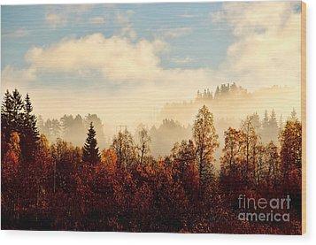 Magic Fall Forest Wood Print