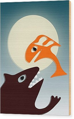 Magic Fish Wood Print by Anastasiya Malakhova