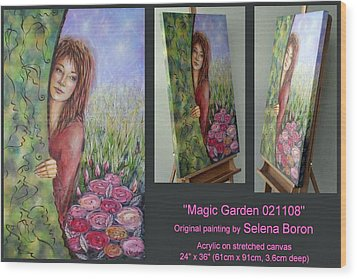 Wood Print featuring the painting Magic Garden 021108 Comp by Selena Boron
