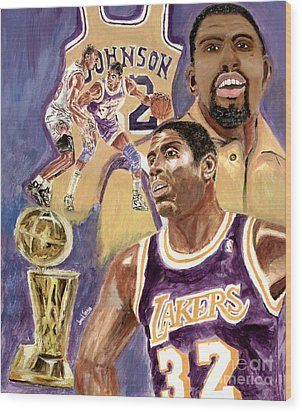 Magic Johnson Wood Print by Israel Torres