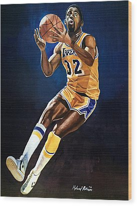 Magic Johnson - Lakers Wood Print by Michael  Pattison