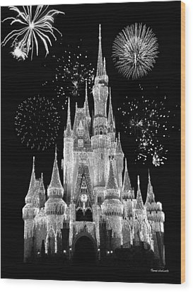 Magic Kingdom Castle In Black And White With Fireworks Walt Disney World Wood Print by Thomas Woolworth