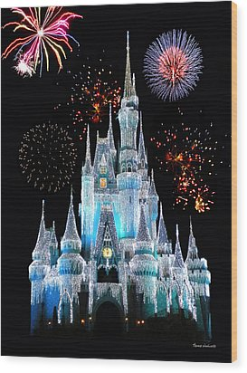 Magic Kingdom Castle In Frosty Light Blue With Fireworks 06 Wood Print by Thomas Woolworth