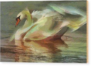 Magic Swan Wood Print